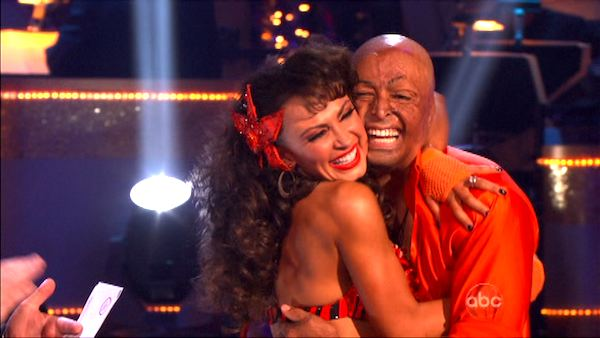 &#39;All My Children&#39; actor and Iraq War veteran J.R. Martinez and his partner Karina Smirnoff received 28 out  of 30 from the judges for their Samba on the October 17 episode &#39;Dancing With The Stars.&#39; <span class=meta>(ABC Photo)</span>
