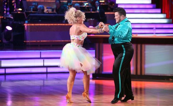 LGBT activist Chaz Bono and his partner Lacey Schwimmer received 21 out of 30 from the judges for their Samba on the October 17 episode of 'Dancing With The Stars.'