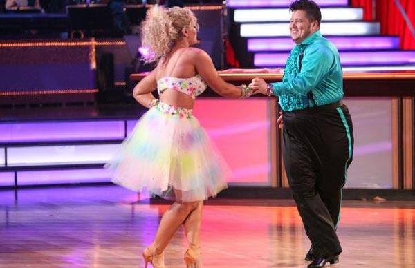 "<div class=""meta image-caption""><div class=""origin-logo origin-image ""><span></span></div><span class=""caption-text"">LGBT activist Chaz Bono and his partner Lacey Schwimmer received 21 out of 30 from the judges for their  Samba on the October 17 episode of 'Dancing With The Stars.' (ABC Photo)</span></div>"