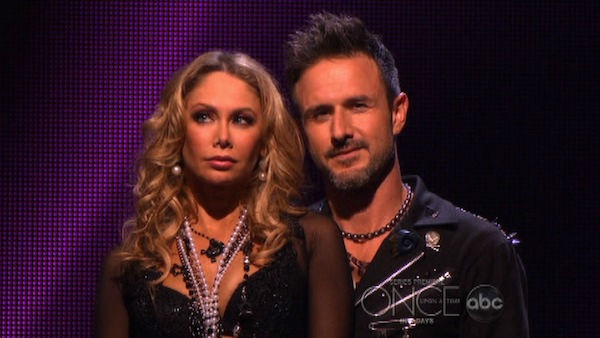 Actor David Arquette and his partner Kym Johnson await possible elimination on 'Dancing With The Stars: The Results Show' on Tuesday, October 18, 2011.
