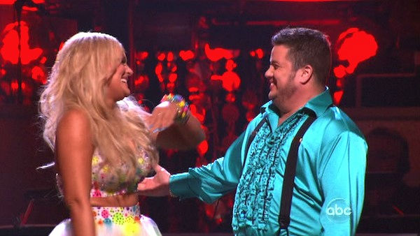 "<div class=""meta ""><span class=""caption-text "">LGBT activist Chaz Bono and his partner Lacey Schwimmer react to being safe on 'Dancing With The Stars: The Results Show' on Tuesday, October 18, 2011. The pair received 21 out of 30 from the judges for their Samba on the October 17 episode of 'Dancing With The Stars.' (OTRC Photo)</span></div>"