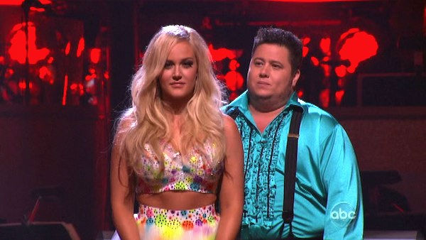 LGBT activist Chaz Bono and his partner Lacey Schwimmer await possible elimination on 'Dancing With The Stars: The Results Show' on Tuesday, October 18, 2011.