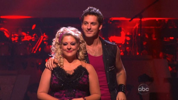 Nancy Grace and her partner Tristan Macmanus await possible elimination on 'Dancing With The Stars: The Result Show' on Tuesday, October 18, 2011.