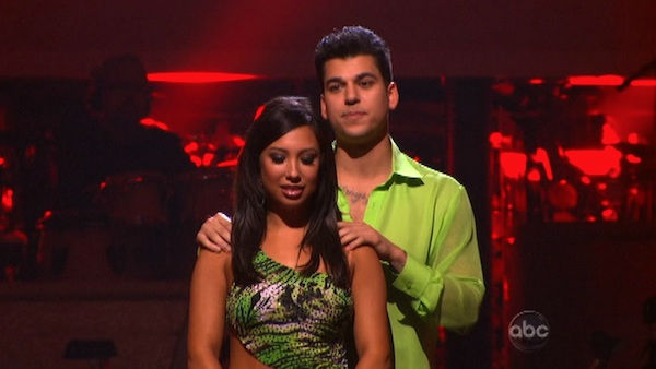'Keeping Up With The Kardashians' star Rob Kardashian and his partner Cheryl Burke await possible elimination on 'Dancing With The Stars: The Results Show' on Tuesday, October 18, 2011.