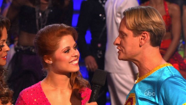 Television personality Carson Kressley and his partner Anna Trebunskaya react to being eliminated on 'Dancing With The Stars: The Results Show' on Tuesday, October 18, 2011. The pair received 19 out of 30 from the judges for their Jive on the October 17 e