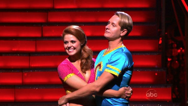 "<div class=""meta ""><span class=""caption-text "">Television personality Carson Kressley and his partner Anna Trebunskaya await possible elimination on 'Dancing With The Stars: The Results Show' on Tuesday, October 18, 2011. The pair received 19 out of 30 from the judges for their Jive on the October 17 episode of 'Dancing With The Stars.' (OTRC Photo)</span></div>"