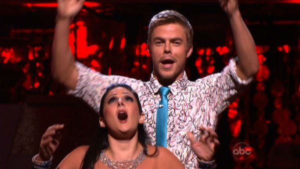 "<div class=""meta ""><span class=""caption-text "">Talk show host and actress Ricki Lake and her partner Derek Hough react to being safe on 'Dancing With The Stars: The Results Show' on Tuesday, October 18, 2011. The pair received 24 out of 30 from the judges for their Fox Trot on the October 17 episode of 'Dancing With The Stars.' (OTRC Photo)</span></div>"