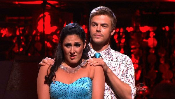 Talk show host and actress Ricki Lake and her partner Derek Hough await possible elimination on 'Dancing With The Stars: The Results Show' on Tuesday, October 18, 2011.