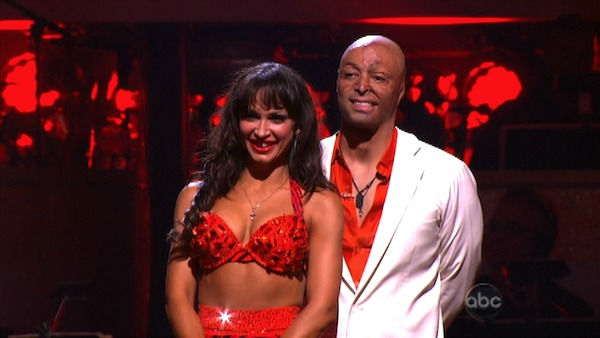&#39;All My Children&#39; actor and Iraq War veteran J.R. Martinez and his partner Karina Smirnoff await possible elimination on &#39;Dancing With The Stars: The Results Show&#39; on Tuesday, October 18, 2011. The pair received 28 out of 30 from the judges for their Samba on the October 17 episode &#39;Dancing With The Stars.&#39; <span class=meta>(OTRC Photo)</span>