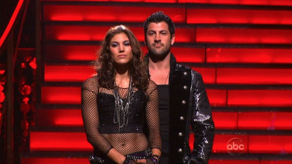 U.S. soccer star Hope Solo and her partner Maksim Chmerkovskiy wait to find out if they will be eliminated from 'Dancing With The Stars' on Tuesday, Oct. 18, 2011.