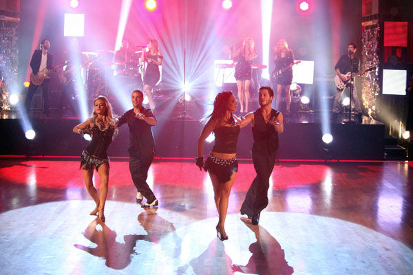 Clarkson also performed her hit song 'Walk Away' on 'Dancing With The Stars' on Tuesday, Oct. 18, 2011, accompanied by pro dancers Mark Ballas, Sharna Burgess, Val Chmerkovskiy and Peta Murgatroyd.