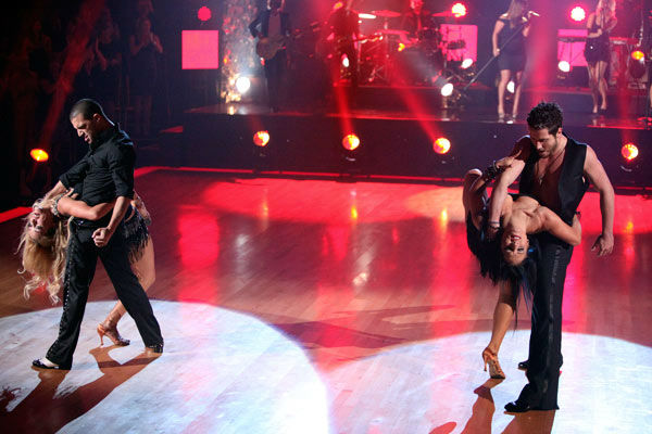 "<div class=""meta ""><span class=""caption-text "">Clarkson also performed her hit song 'Walk Away' on 'Dancing With The Stars' on Tuesday, Oct. 18, 2011, accompanied by pro dancers Mark Ballas, Sharna Burgess, Val Chmerkovskiy and Peta Murgatroyd.  (ABC Photo/ Adam Taylor)</span></div>"
