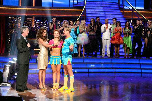 Television personality Carson Kressley and his partner Anna Trebunskaya react to being eliminated on 'Dancing With The Stars: The Results Show' on Tuesday, October 18, 2011.