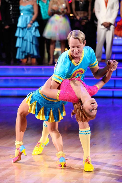 "<div class=""meta image-caption""><div class=""origin-logo origin-image ""><span></span></div><span class=""caption-text"">Television personality Carson Kressley and his partner Anna Trebunskaya react to being eliminated on 'Dancing With The Stars: The Results Show' on Tuesday, October 18, 2011. The pair received 19 out of 30 from the judges for their Jive on the October 17 episode of 'Dancing With The Stars.' (ABC Photo/ Adam Taylor)</span></div>"