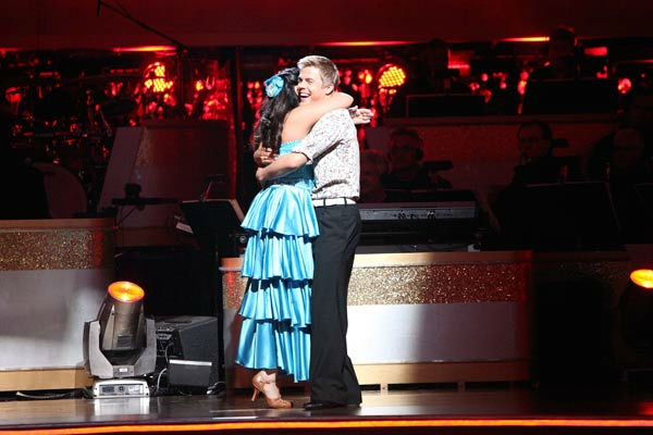 Talk show host and actress Ricki Lake and her partner Derek Hough react to being safe on 'Dancing With The Stars: The Results Show' on Tuesday, October 18, 2011.