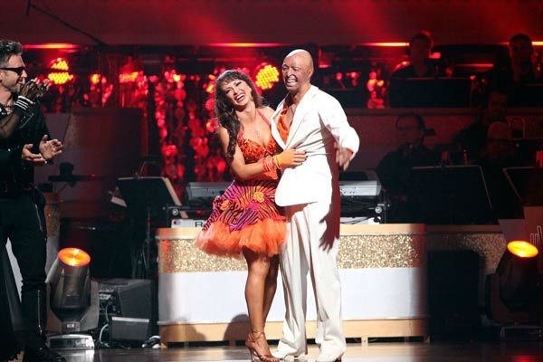 'All My Children' actor and Iraq War veteran J.R. Martinez and his partner Karina Smirnoff react to being safe on 'Dancing With The Stars: The Results Show' on Tuesday, October 18, 2011.