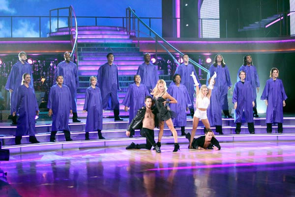 "<div class=""meta ""><span class=""caption-text ""> Troupe dancers performed with a choir, on ""Dancing with the Stars the Results Show,"" TUESDAY, OCTOBER 18 Troupe dancers performed with a choir, on ""Dancingd with a Troupe dancers performed with a choir, on 'Dancing with the Stars the Results Show,' Tuesday, Oct. 18, 2011. (Pictured: Val Chmerkovskiy, Peta Murgatroyd, Oksana Dmytrenko and Sasha Farber.) (ABC Photo/ Adam Taylor)</span></div>"