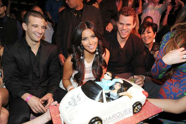 Mark Ballas, Kim Kardashian, Kris Humphries and Kris Jenner celebrate Kim Kardashian's birthday at Marquee Nightclub at the Cosmopolitan in CityCenter on October 22, 2011 in Las Vegas, Nevada.