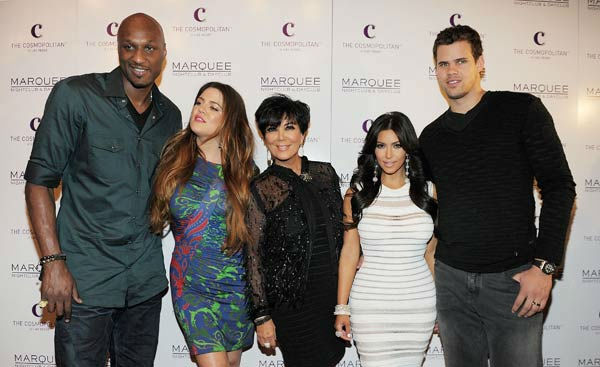 Lamar Odom, Khloe Kardashian, Kris Jenner, Kim Kardashian and Kris Humphries arrive at Kim Kardashian's birthday party at her birthday at Marquee Nightclub at the Cosmopolitan in CityCenter on October 22, 2011 in Las Vegas, Nevada.