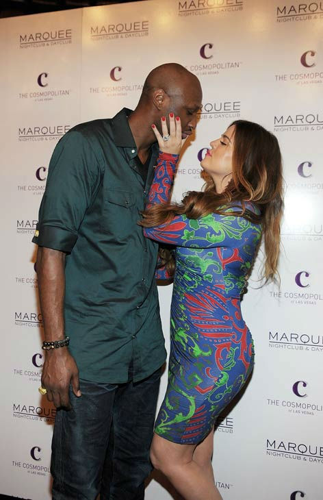 Lamar Odom and Khloe Krdashian arrive at Kim Kardashian's birthday party at Marquee Nightclub at the