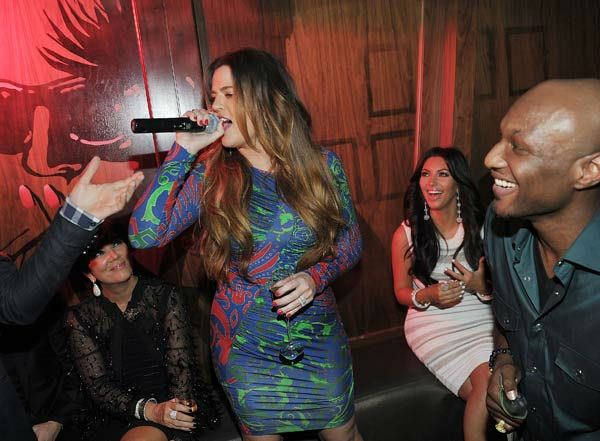 Kris Jenner, Khloe Kardashian, Kim Kardashian and Lamar Odom celebrate Kim Kardashian's birthday at Marquee Nightclub at the Cosmopolitan in CityCenter on October 22, 2011 in Las Vegas, Nevada.