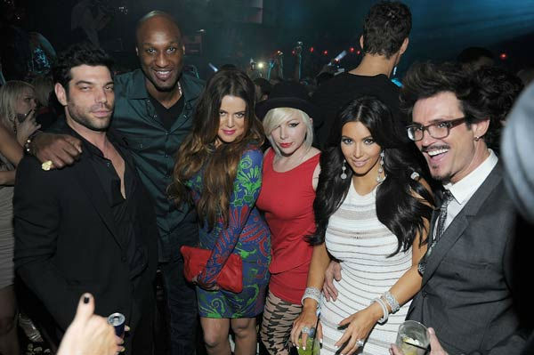Lamar Odom, Khloe Kardashian, Joyce Bonelli, Kim Kardashian and Clyde Hayward celebrate Kim Kardashian's birthday at Marquee Nightclub at the Cosmopolitan in CityCenter on October 22, 2011 in Las Vegas, Nevada.