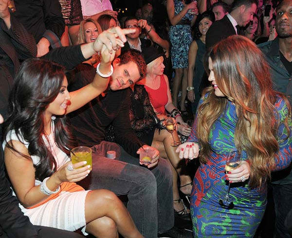 Kim Kardashian, Kris Humphries and Khloe Kardashian celebrate Kim Kardashian's birthday at Marquee Nightclub at the Cosmopolitan in CityCenter on October 22, 2011 in Las Vegas, Nevada.