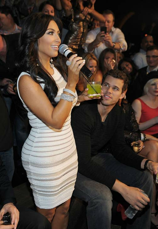 Kim Kardashian and Kris Humphries celebrate Kim Kardashian's birthday at Marquee Nightclub at the Cosmopolitan in CityCenter on October 22, 2011 in Las Vegas, Nevada.