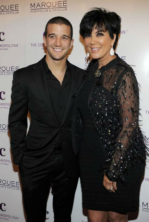 Mark Ballas and Kris Jenner arrive at Kim Kardashian's birthday Party at Marquee Nightclub at the Cosmopolitan in CityCenter on October 22, 2011 in Las Vegas, Nevada.