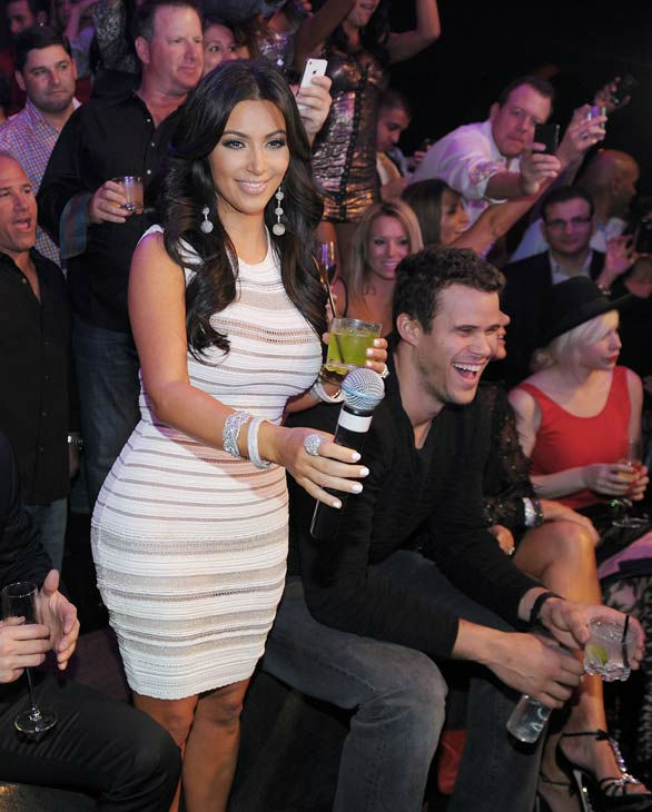 Kim Kardashian and Kris Humphries celebrate Kim Kardashian's birthday at Marquee Nightclub at the Cosmopolitan in CityCenter on October 22, 2011 in Las Veg