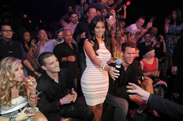 Kim Kardashian and Kris Humphries celebrate Kim Kardashian's birthday at Marquee Nightclub at the Cosmopolitan in City