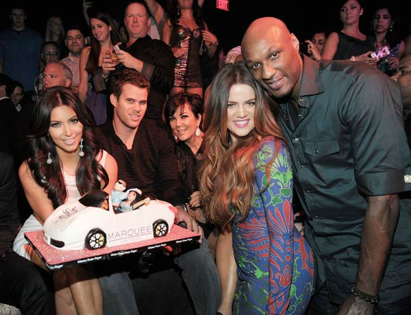 Kim Kardashian, Kris Humphries, Kris Jenner, Khloe Kardashian and Lamar Odom celebrate Kim Kardashian's birthday at Marquee Nightclub at the Cosmopolitan in CityCenter on October 22, 2011 in La
