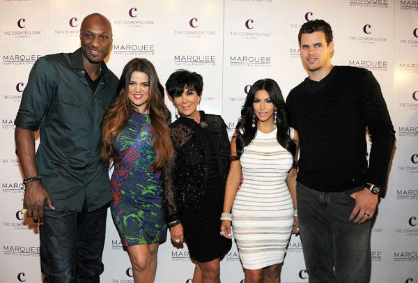 Lamar Odom, Khloe Kardashian, Kris Jenner, Kim Kardashian and Kris Humphries arrive at Kim Kardashian's birthday party at her birthday at Marquee Nightclub at the Cosmopolitan in CityCenter on October 22, 2011 in Las Vegas, Nevada.  Kim Kardashian; Kris H