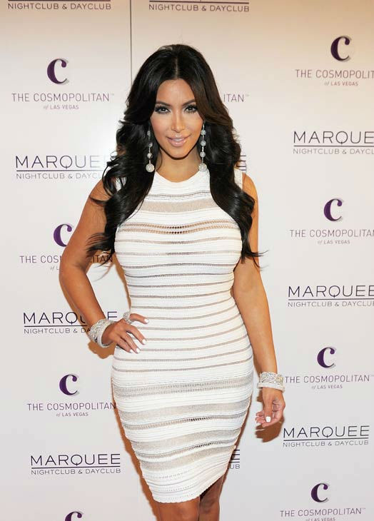 Kim Kardashian arrives at her birthday party at Marquee Nightclub at the Cosmopolitan in CityCenter on October 22, 2011 in Las V