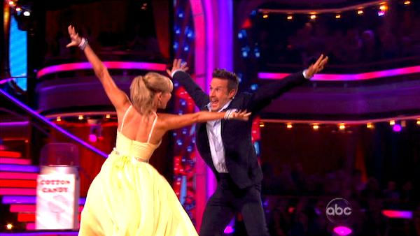 Actor David Arquette and his partner Kym Johnson received 23 out of 30 from the judges for their  Quickstep on the October 24 episode of &#39;Dancing With The Stars.&#39; <span class=meta>(ABC Photo)</span>