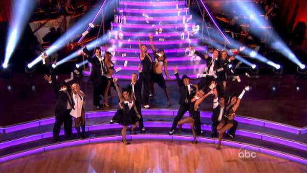 "<div class=""meta image-caption""><div class=""origin-logo origin-image ""><span></span></div><span class=""caption-text"">The entire cast of 'Dancing With The Stars' perform to a medley of 'Big Spender' from 'Sweet Charity' and 'The Money Song' from Cabaret  on the October 24 episode 'Dancing With The Stars.' (ABC Photo)</span></div>"