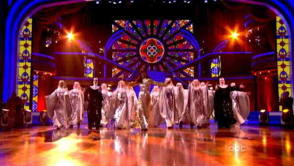 The cast of Broadway's production of 'Sister Act' performs on the October 24 episode 'Dancing With The Stars.'