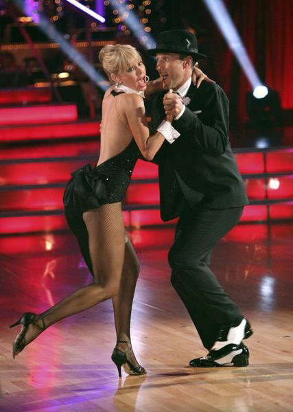 "<div class=""meta ""><span class=""caption-text "">Actor David Arquette and his partner Kym Johnson received 23 out of 30 from the judges for their  Quickstep on the October 24 episode of 'Dancing With The Stars.' (ABC Photo)</span></div>"