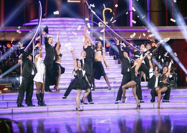 The entire cast of 'Dancing With The Stars' perform to a medley of 'Big Spender' from 'Sweet Charity' and 'The Money Song' from Cabaret  on the October 24 episode 'Dancing With The Stars.'