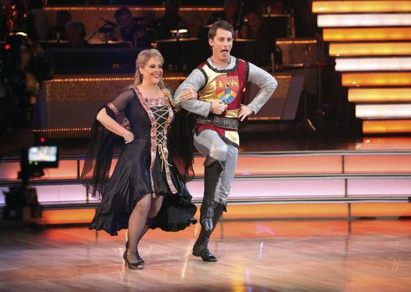 Television host Nancy Grace and her partner Tristan Macmanus received 24 out of 30 from the judges for their Fox Trot on the October 24 episode of 'Dancing With The Stars.'