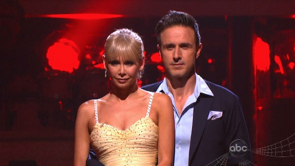 Actor David Arquette and his partner Kym Johnson await possible elimination on &#39;Dancing With The Stars: The Results Show&#39; on Tuesday, October 25, 2011. The pair received 23 out of 30 from the judges for their Quickstep on the October 24 episode of &#39;Dancing With The Stars.&#39; <span class=meta>(OTRC Photo)</span>