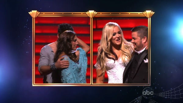 LGBT activist Chaz Bono and his partner Lacey Schwimmer react to being eliminated on 'Dancing With The Stars: The Results Show' on Tuesday, October 25, 2011. The pair received 19 out of 30 from the judges for their Tango on the October 24 episode of 'Danc