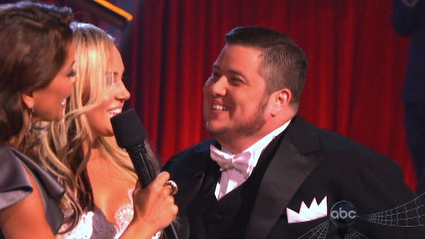 "<div class=""meta ""><span class=""caption-text "">LGBT activist Chaz Bono and his partner Lacey Schwimmer react to being eliminated on 'Dancing With The Stars: The Results Show' on Tuesday, October 25, 2011. The pair received 19 out of 30 from the judges for their Tango on the October 24 episode of 'Dancing With The Stars.' (OTRC Photo)</span></div>"