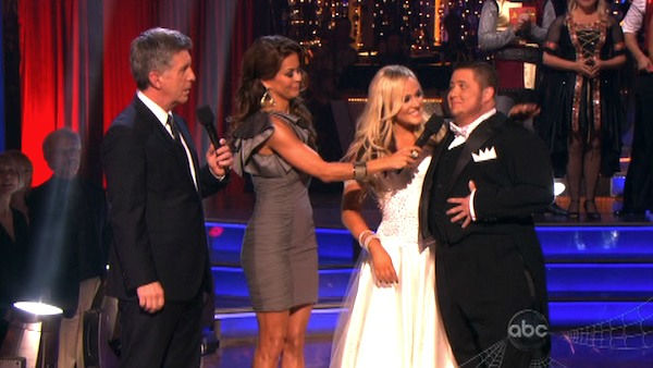 "<div class=""meta image-caption""><div class=""origin-logo origin-image ""><span></span></div><span class=""caption-text"">LGBT activist Chaz Bono and his partner Lacey Schwimmer react to being eliminated on 'Dancing With The Stars: The Results Show' on Tuesday, October 25, 2011. The pair received 19 out of 30 from the judges for their Tango on the October 24 episode of 'Dancing With The Stars.' (OTRC Photo)</span></div>"