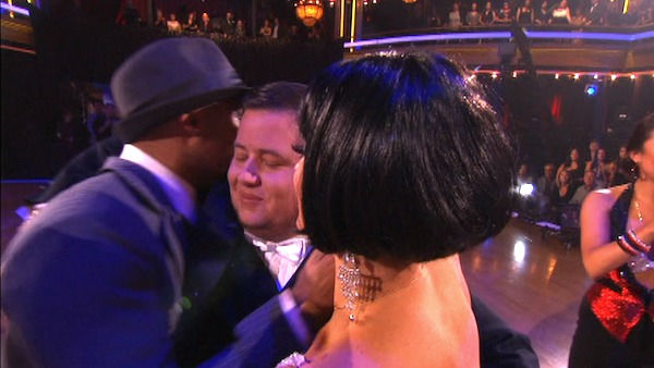 LGBT activist Chaz Bono and his partner Lacey Schwimmer react to being eliminated on &#39;Dancing With The Stars: The Results Show&#39; on Tuesday, October 25, 2011. The pair received 19 out of 30 from the judges for their Tango on the October 24 episode of &#39;Dancing With The Stars.&#39; <span class=meta>(OTRC Photo)</span>