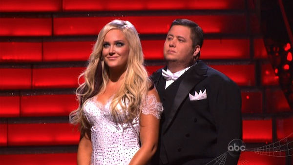 "<div class=""meta ""><span class=""caption-text "">LGBT activist Chaz Bono and his partner Lacey Schwimmer await possible elimination on 'Dancing With The Stars: The Results Show' on Tuesday, October 25, 2011. The pair received 19 out of 30 from the judges for their Tango on the October 24 episode of 'Dancing With The Stars.' (OTRC Photo)</span></div>"