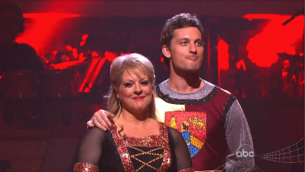 "<div class=""meta image-caption""><div class=""origin-logo origin-image ""><span></span></div><span class=""caption-text"">Nancy Grace and her partner Tristan Macmanus await possible elimination on 'Dancing With The Stars: The Result Show' on Tuesday, October 25, 2011. The pair received 24 out of 30 from the judges for their Fox Trot on the October 24 episode of 'Dancing With The Stars.' (OTRC Photo)</span></div>"