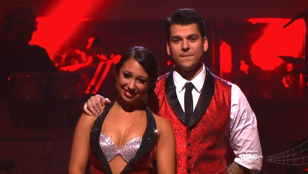 'Keeping Up With The Kardashians' star Rob Kardashian and his partner Cheryl Burke await possible elimination on 'Dancing With The Stars: The Results Show' on Tuesday, October 25, 2011.