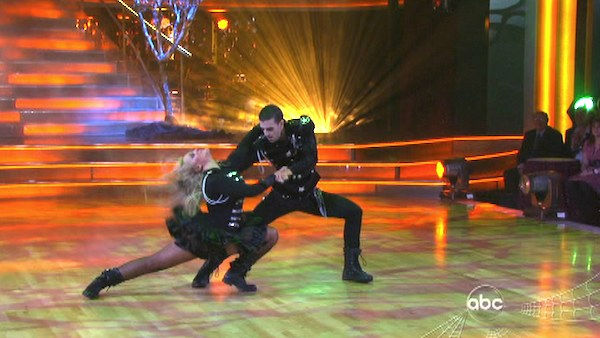 "<div class=""meta image-caption""><div class=""origin-logo origin-image ""><span></span></div><span class=""caption-text"">Lacey Schwimmer and Mark Ballas did a special Halloween-themed performance with a children's group on 'Dancing With The Stars: The Results Show' on Tuesday, October 25. (OTRC Photo)</span></div>"
