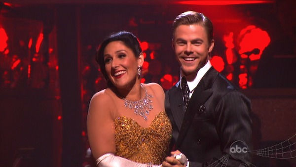 "<div class=""meta image-caption""><div class=""origin-logo origin-image ""><span></span></div><span class=""caption-text"">Talk show host and actress Ricki Lake and her partner Derek Hough react to being safe on 'Dancing With The Stars: The Results Show' on Tuesday, October 25, 2011. The pair received 29 out of 30 from the judges for their Quickstep on the October 24 episode of 'Dancing With The Stars.' (OTRC Photo)</span></div>"